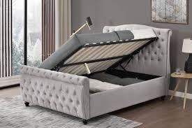 side lift ottoman storage sleigh bed hton grey velvet side lift ottoman storage sleigh bed frame grey