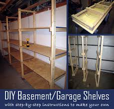 diy basement garage shelves with step by step instructions