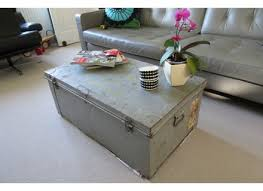 metal vintage shabby chic steamer trunk chest coffee table tv