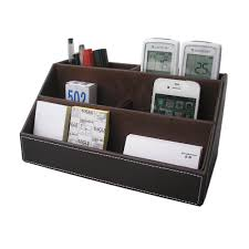Leather Desk Organizer Set Kingfom Home Offfice Wooden Struction Leather Multi