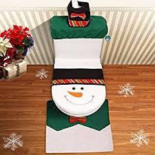 happy santa toilet seat cover rug bathroom set snowman ebay