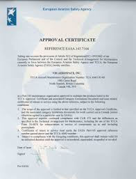certificates u0026 approvals vih aerospace