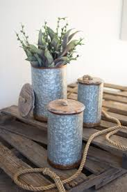 galvanized metal and wood canisters with handles set of 3