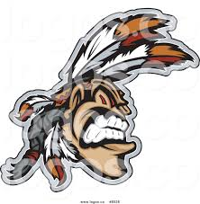 royalty free clip art vector logo of a aggressive native american