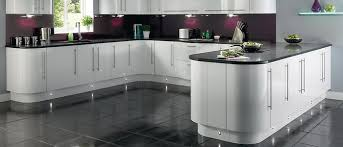 White Gloss Kitchen Ideas Curved Units With Gloss White And Grey Top Lighting A Bit Too