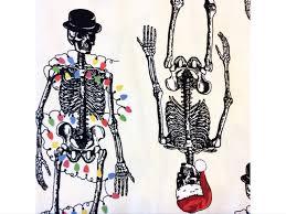 an57 christmas skeleton halloween holiday santa bones cotton quilt