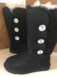 s boots with bling ugg australia black bailey button bling triplet sheepskin