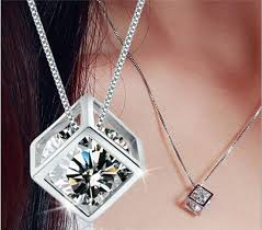 sterling silver necklace sale images Free shipping sale whole s925 925 sterling silver love cube jpg