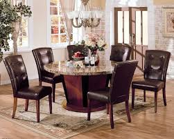 brown marble top round dining table set pu leather chairs 7pc
