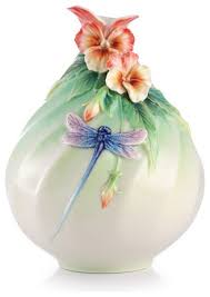 Franz Butterfly Vase Franz Porcelain Collection Pansy And Dragonfly Vase Transitional