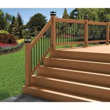 deckorail pressure treated 6 ft cedar tone stair deck railing kit