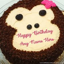 monkey funny face design cake with name specially for