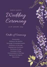 purple wedding programs purple floral wedding program templates by canva