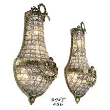 Bedroom Wall Sconces Lighting Antique French Basket Style Crystal Wall Sconce Lights Pair Ant