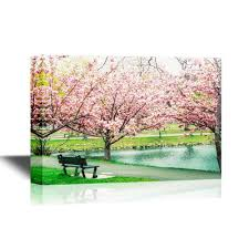 wall26 com art prints framed art canvas prints greeting wall26 canvas wall art bench under cherry blossom gallery wrap modern home decor ready to hang 12x18 inches