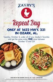 zaxby s ozark zaxby s hosting repeat day on tuesday oct 6 inside page