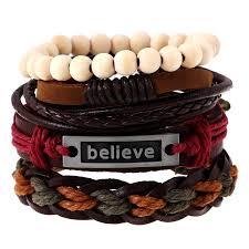 leather bracelet sets images Ethnic rivet bracelets for male vintage beads charms wrap leather jpg