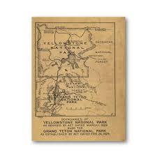 Grand Teton Map Yellowstone National Park Map 1929 U2014 Purple Moose Basics