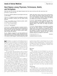hand hygiene among physicians performance beliefs and