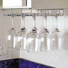 decorating amazing unique design of hanging wine glass rack with
