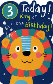 boys happy 3rd birthday greeting card with badge cards love kates