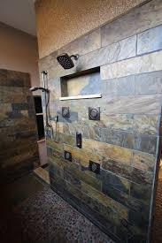 Slate Tile Bathroom Shower Slate Tiled Shower Rustic Bathroom Cleveland By