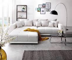 sofa liegewiese big sofa violetta 310x135 cm hellgrau creme mit hocker möbel sofas