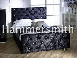 Crushed Velvet Fabric Upholstery Diamond Double Crushed Velvet Fabric Upholstered Bed Frame 3ft