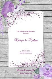 printable wedding program template wedding program template confetti plum silver wedding template shop