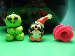 polymer clay turtle christmas penguin and rose by