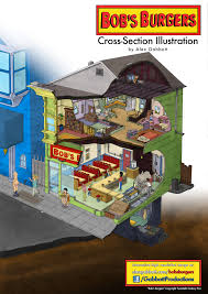bobs burgers cross section illustration by gabbottproductions