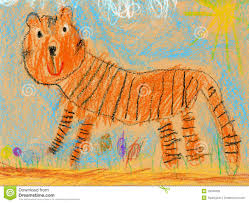 kids drawing of a tiger stock photo image 19045920
