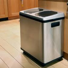 Kitchen Cabinet Bin Itouchless 2 Compartment Recycle Touchless Trashcan 16 Gal