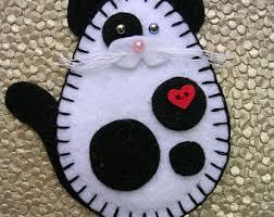 cat ornament felt cat ornament gray tabby cat grey tabby