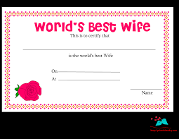 free printable world u0027s best wife certificates