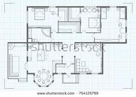 architectural floor plan architectural floor plan house kitchen sleeping stock vector