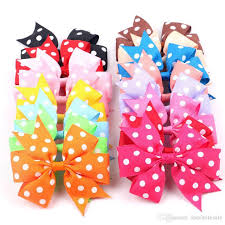 wholesale hairbows satin dot pinwheel hair bows for 3 bow 4 6cm clip