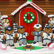 custom gingerbread house with new york yankees baseball theme from