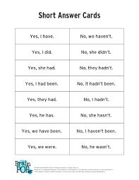 past tense short answer cards brainpop educators