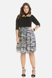 Plus Size Camouflage Clothing Size Sophie Camo Flare Skirt