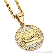 gold plated necklace pendants images Wholesale fashion charms mens stainless steel gold plated necklace jpg
