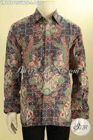 desain baju batik untuk acara resmi hem batik sutra mewah lengan panjang khas jawa tengah hadir dengan