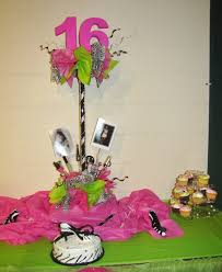 Sweet 16 Table Centerpieces Party People Event Decorating Company Zebra Pink And Lime