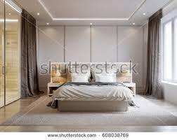 modern bedroom interior design white walls stock illustration