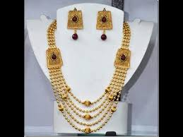 fashion 22k gold chandraharam necklace designs small balls