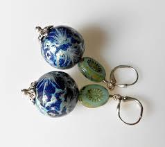 paper mache earrings custom earrings paper mache in cobalt silver and light aqua