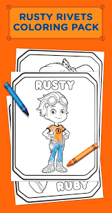 rusty rivets coloring pack free printable birthdays and