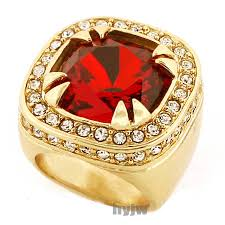 men big rings images New mens big chunky gold plated iced out rich gang ruby ring r018g jpg
