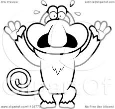 cartoon clipart of an outlined scared proboscis monkey black and