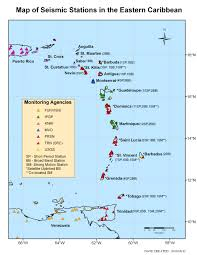 Map Of Eastern Caribbean Islands by The University Of The West Indies Seismic Research Centre